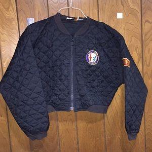 FOLETTE Vintage Quilted Navy Blue Crop Jacket